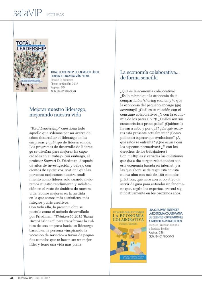 Vista de la referencia al libro en la página 44 de la Revista APD